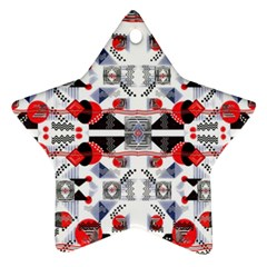 Creative Geometric Red And Black Design Ornament (star)