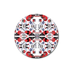 Creative Geometric Red And Black Design Magnet 3  (round)