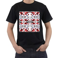 Creative Geometric Red And Black Design Men s T Shirt (black) (two Sided)