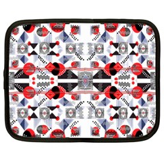 Creative Geometric Red And Black Design Netbook Case (large)