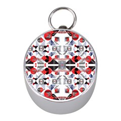 Creative Geometric Red And Black Design Mini Silver Compasses