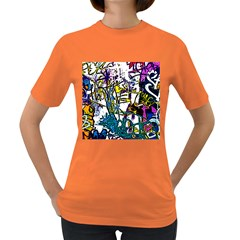 Graffiti Wall Cartoon Style Art Women s Dark T Shirt