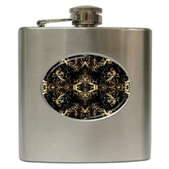 Golden Florals Pattern  Hip Flask (6 Oz)