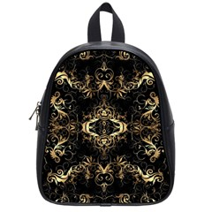 Golden Florals Pattern  School Bag (small)