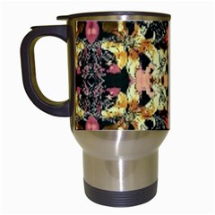 Beautiful Seamless Brown Tropical Flower Design  Travel Mugs (white)