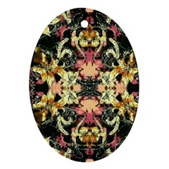 Beautiful Seamless Brown Tropical Flower Design  Oval Ornament (two Sides)