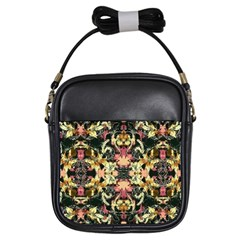 Beautiful Seamless Brown Tropical Flower Design  Girls Sling Bags