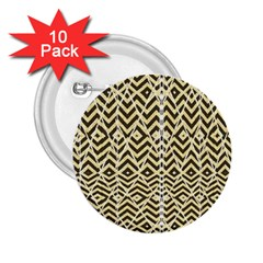 Stripes Glitter And Black Zigzags 2 25  Buttons (10 Pack)