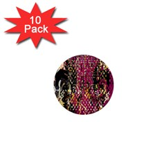 Multi Pattern Purple Gold Silver Lighting Icons Created By Kiekie Strickland  1  Mini Magnet (10 Pack)
