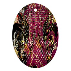 Multi Pattern Purple Gold Silver Lighting Icons Created By Kiekie Strickland  Oval Ornament (two Sides)