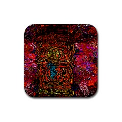 Exotic Water Colors Vibrant  Rubber Coaster (square)
