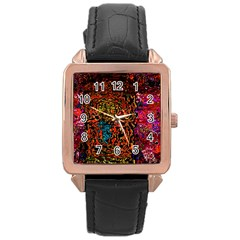 Exotic Water Colors Vibrant  Rose Gold Leather Watch  by flipstylezdes