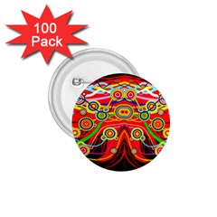 Colorful Artistic Retro Stringy Colorful Design 1 75  Buttons (100 Pack)