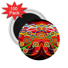 Colorful Artistic Retro Stringy Colorful Design 2 25  Magnets (100 Pack)