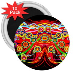 Colorful Artistic Retro Stringy Colorful Design 3  Magnets (10 Pack)