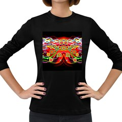 Colorful Artistic Retro Stringy Colorful Design Women s Long Sleeve Dark T Shirts