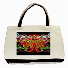 Colorful Artistic Retro Stringy Colorful Design Basic Tote Bag
