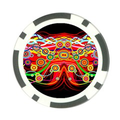 Colorful Artistic Retro Stringy Colorful Design Poker Chip Card Guard by flipstylezdes