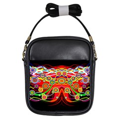 Colorful Artistic Retro Stringy Colorful Design Girls Sling Bags