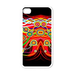 Colorful Artistic Retro Stringy Colorful Design Apple Iphone 4 Case (white) by flipstylezdes