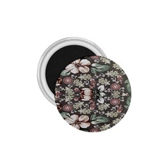 Seamless Pink Green And White Florals Peach 1 75  Magnets