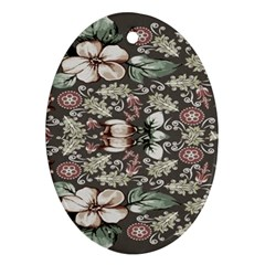 Seamless Pink Green And White Florals Peach Ornament (oval)