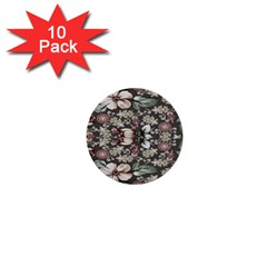 Seamless Pink Green And White Florals Peach 1  Mini Buttons (10 Pack)