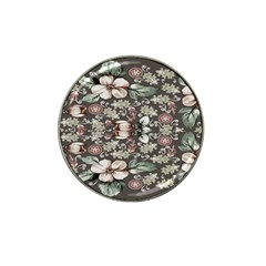 Seamless Pink Green And White Florals Peach Hat Clip Ball Marker (10 Pack)