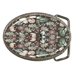 Seamless Pink Green And White Florals Peach Belt Buckles