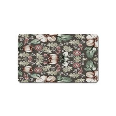 Seamless Pink Green And White Florals Peach Magnet (name Card)