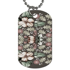Seamless Pink Green And White Florals Peach Dog Tag (two Sides)