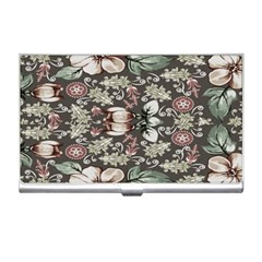Seamless Pink Green And White Florals Peach Business Card Holders by flipstylezdes