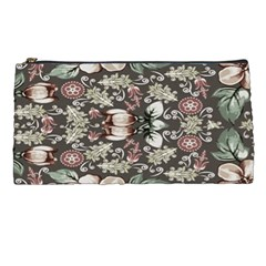 Seamless Pink Green And White Florals Peach Pencil Cases