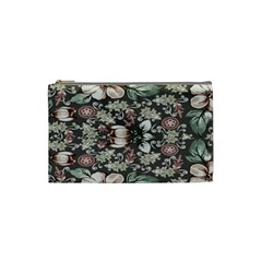 Seamless Pink Green And White Florals Peach Cosmetic Bag (small)