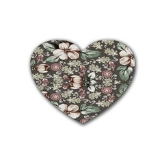 Seamless Pink Green And White Florals Peach Heart Coaster (4 Pack)  by flipstylezdes