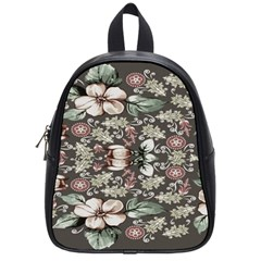 Seamless Pink Green And White Florals Peach School Bag (small)