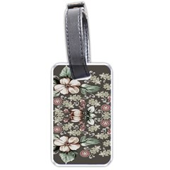 Seamless Pink Green And White Florals Peach Luggage Tags (one Side)