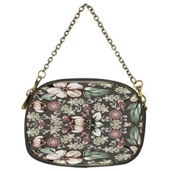 Seamless Pink Green And White Florals Peach Chain Purses (one Side)