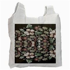 Seamless Pink Green And White Florals Peach Recycle Bag (two Side)