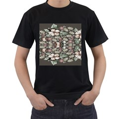 Seamless Pink Green And White Florals Peach Men s T Shirt (black)