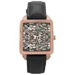 Seamless Pink Green And White Florals Peach Rose Gold Leather Watch  by flipstylezdes