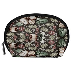 Seamless Pink Green And White Florals Peach Accessory Pouches (large)