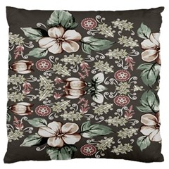 Seamless Pink Green And White Florals Peach Large Flano Cushion Case (two Sides) by flipstylezdes