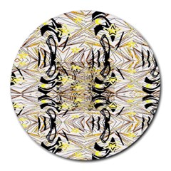 Retro Seamless Black And Gold Design Round Mousepads