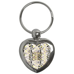 Retro Seamless Black And Gold Design Key Chains (heart)