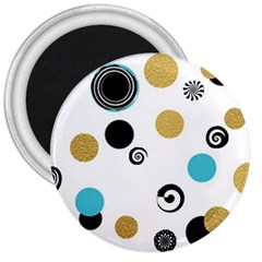 Fun Retro Blue Gold Circles  3  Magnets