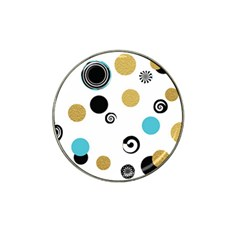Fun Retro Blue Gold Circles  Hat Clip Ball Marker (4 Pack)