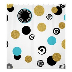 Fun Retro Blue Gold Circles  Shower Curtain 66  X 72  (large)  by flipstylezdes