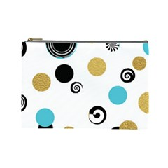 Fun Retro Blue Gold Circles  Cosmetic Bag (large)
