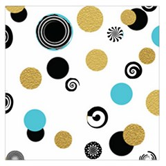 Fun Retro Blue Gold Circles  Large Satin Scarf (square)